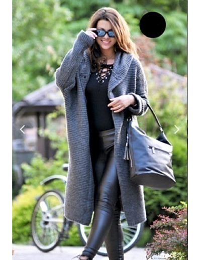 cheap Cardigans-Women's Daily / Holiday Street chic Fall / Fall & Winter Long Coat, Solid Colored Hooded Long Sleeve Acrylic Patchwork Yellow / Green / Beige / Loose