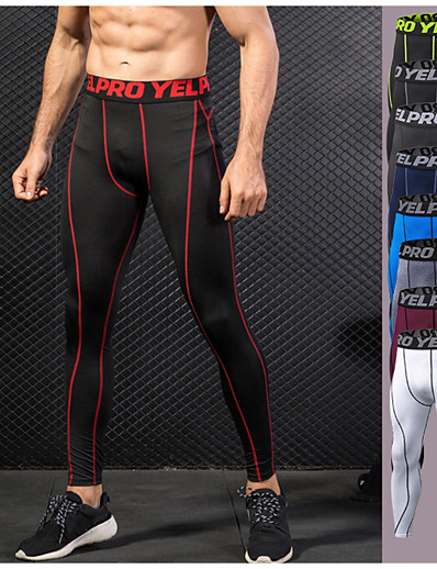 cheap Running, Jogging & Walking-YUERLIAN Men's Running Tights Leggings Compression Pants Athletic Base Layer Compression Clothing Tights Elastane Winter Fitness Gym Workout Running Exercise Lightweight Quick Dry Anatomic Design