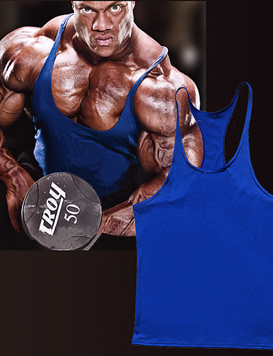 cheap Running, Jogging & Walking-Men's Sleeveless Workout Tank Top Running Tank Top Running Singlet Vest / Gilet Racerback Summer Quick Dry Lightweight Breathable Cotton Fitness Gym Workout Training Exercise Sportswear Solid Colored