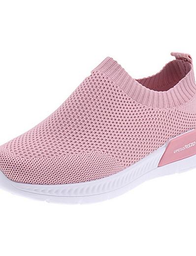 cheap Sneakers-Women's Athletic Shoes Flat Heel Round Toe Faux Leather Running Shoes Fall & Winter Black / White / Pink