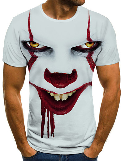cheap MEN'S-Men's Halloween T-shirt 3D Graphic Tribal Print Short Sleeve Tops Streetwear Punk & Gothic Round Neck White