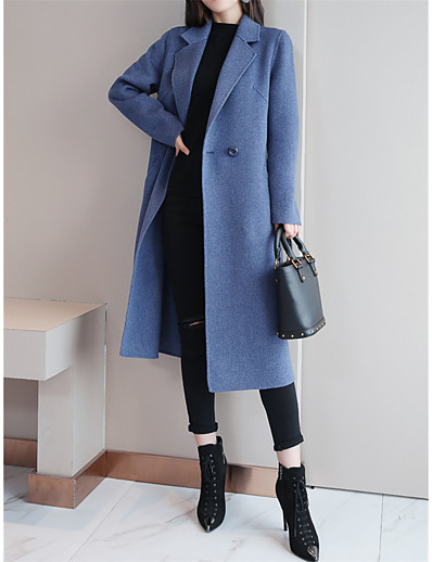 cheap Coats & Trench Coats-Women's Overcoat Daily Fall Winter Long Coat Shirt Collar Regular Fit Elegant & Luxurious Jacket Long Sleeve Solid Colored Button Blue Camel