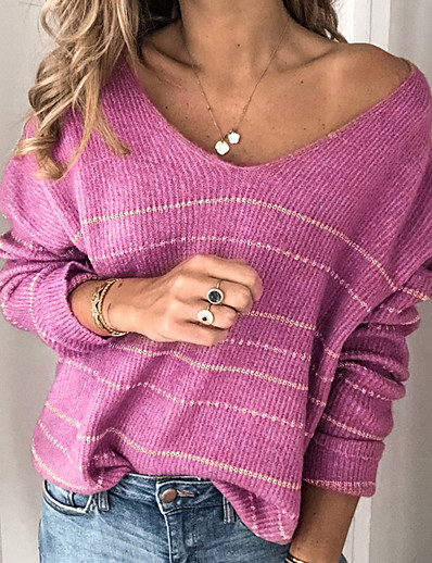cheap BEST SELLERS-Women's Striped Long Sleeve Pullover Sweater Jumper, V Neck White / Purple / Red S / M / L