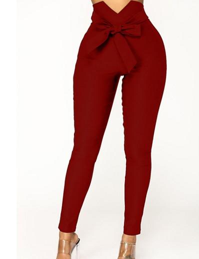 abordables Pantalons et jupes-Femme Chic de Rue Mince Pantalon - Couleur Pleine Noir Vin Bleu S M L