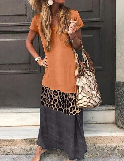 cheap Boho Dresses-Women's Daily Wear Street chic Shift Dress - Leopard Print Black Orange Green S M L XL