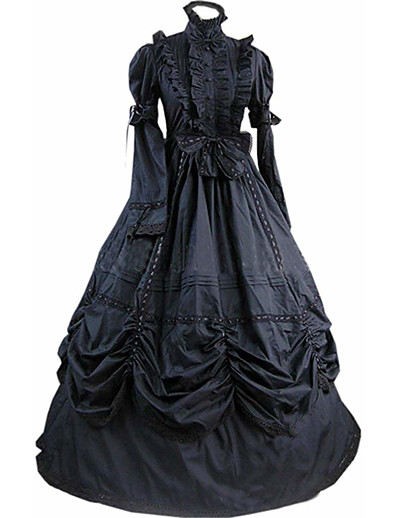 cheap Historical & Vintage Costumes-Gothic Lolita Victorian Vacation Dress Dress Prom Dress Women's Girls' Party Prom Japanese Cosplay Costumes Plus Size Customized Black Ball Gown Vintage Bell Sleeve Long Sleeve Floor Length Long
