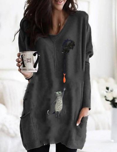 cheap Hoodies & Sweatshirts-Women's Casual Loose Hoodie - Geometric Royal Blue S