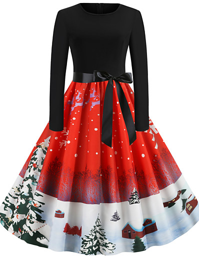 cheap DRESSES-Women's Christmas Party Daily Wear Basic A Line Dress - Solid Colored Red S M L XL