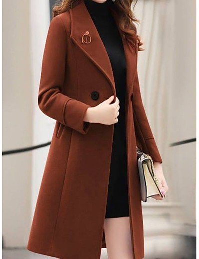 cheap Jackets-Women's Going out / Work Basic Fall & Winter Long Coat, Solid Colored Turndown Long Sleeve Polyester Black / Army Green / Red