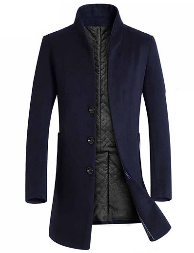 cheap Men's Outerwear-Men's Stand Collar Overcoat Long Solid Colored Daily Basic Long Sleeve Black Navy Blue Gray L XL XXL 3XL