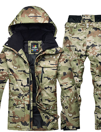 cheap SPORTSWEAR-ARCTIC QUEEN Men's Ski Jacket with Pants Ski / Snowboard Thermal Warm Waterproof Windproof 100% Polyester Clothing Suit Ski Wear / Winter / Long Sleeve / Camo / Camouflage