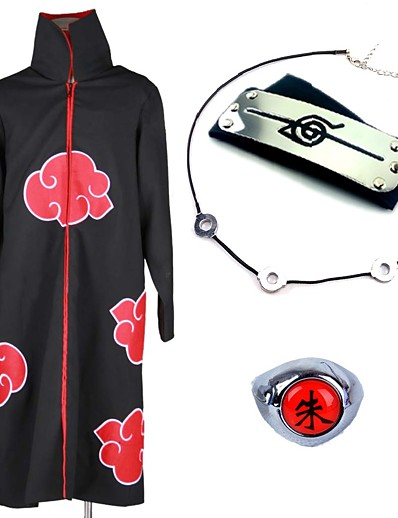cheap Cosplay & Costumes-Inspired by Naruto Akatsuki Itachi Uchiha Anime Cosplay Costumes Japanese Cosplay Suits Cosplay Accessories Anime Cloak Necklace Headband For Men's Women's / Ring