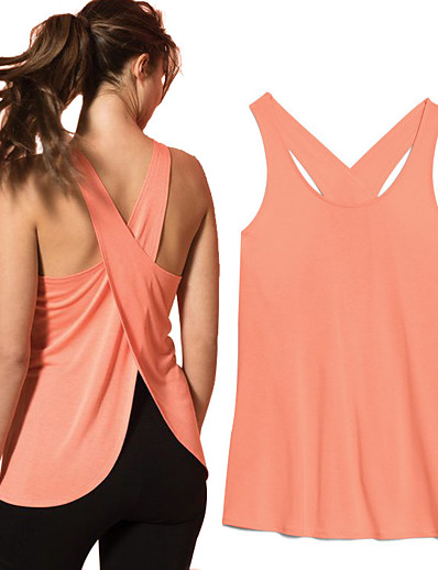 cheap Running, Jogging & Walking-Women's Sleeveless Running Tank Top Top Athleisure Summer Quick Dry Lightweight Breathable Yoga Fitness Gym Workout Running Sportswear Solid Colored Coral White Black Purple Activewear High Elasticity
