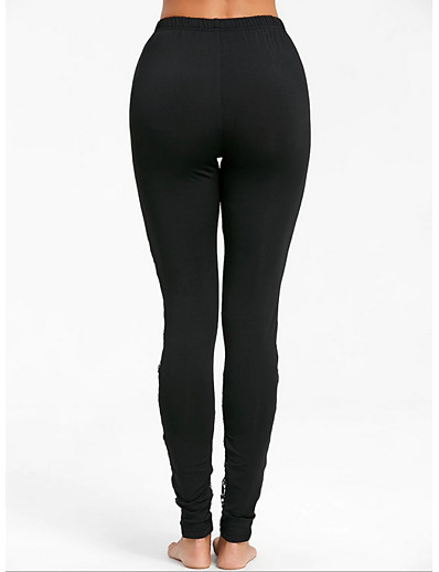 cheap Leggings-Women's Street chic Slim Leggings Pants - Patchwork Solid Colored Lace Black S / M / L