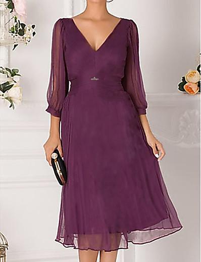 cheap Party Dresses-Women's Red Dress Elegant Cocktail Party A Line Solid Colored Deep V Off Shoulder M L
