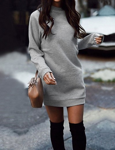 cheap Elegant Dresses-Women's Elegant Shift Dress - Solid Colored Black Wine Light gray S M L XL