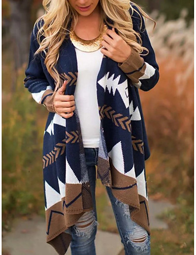 cheap Outerwear-Women's Geometric Long Sleeve Cardigan Sweater Jumper, V Neck Navy Blue S / M / L