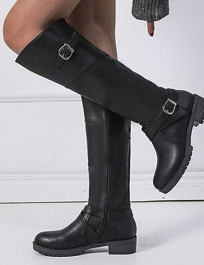 cheap BEST SELLERS-Women's Boots Knee High Boots Flat Heel Round Toe PU Knee High Boots Winter Black / Dark Brown / Green
