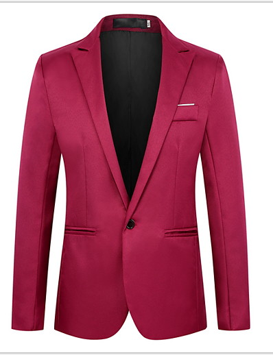 cheap Men's Outerwear-Men's Blazer Peaked Lapel Polyester Black / Wine / Light Blue