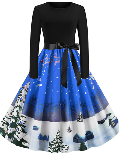cheap CHRISTMAS GIFTS-Women's Christmas Party Festival Vintage Basic Swing Dress - Geometric Santa Claus, Patchwork Print Black Purple Blue S M L XL