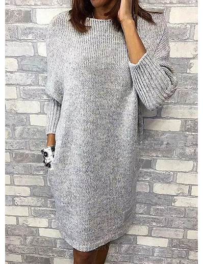 cheap Dresses-Women's Sweater Dress - Solid Colored Gray M L XL XXL