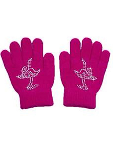 cheap SPORTSWEAR-21Grams Figure Skating Gloves All Ice Skating Dress Black Fuchsia Spandex High Elasticity Training Competition Skating Wear Solid Colored Classic Crystal / Rhinestone Ice Skating Figure Skating