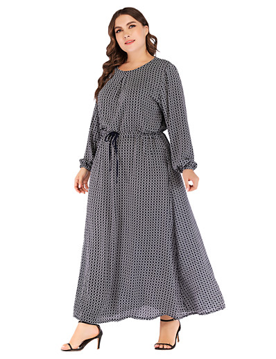 cheap Plus Size Dresses-Women's Daily Wear Dress Basic Elegant Shift Chiffon Dress - Polka Dot Lace up Print Navy Blue XXL XXXL XXXXL