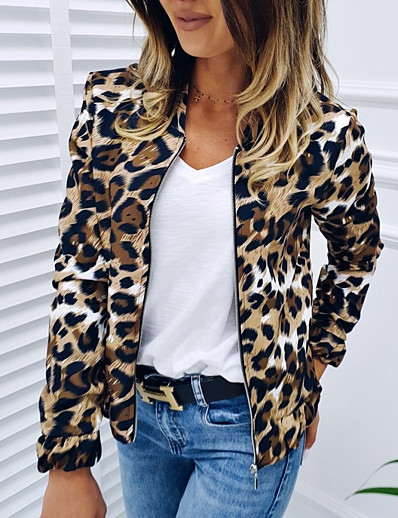 cheap Outerwear-Women's Daily Basic Fall Short Jacket, Leopard Collarless Long Sleeve Polyester / Spandex Print Brown