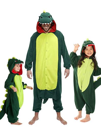 cheap Kigurumi Pajamas-Kid's Kigurumi Pajamas Dinosaur Animal Onesie Pajamas Flannel Toison Red / Green Cosplay For Boys and Girls Animal Sleepwear Cartoon Festival / Holiday Costumes / Leotard / Onesie