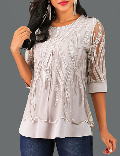 cheap TOPS-Women's Causal Lace Blouse - Geometric Gray / Spring / Fall