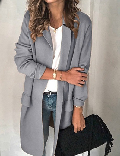 cheap DOWN TO $0.99-Women's Blazer, Solid Colored Notch Lapel Polyester Black / Blushing Pink / Beige