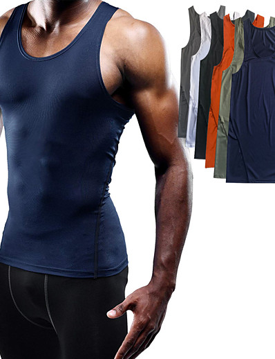 cheap Running, Jogging & Walking-Men's Sleeveless Workout Tank Top Running Tank Top Running Singlet Vest / Gilet Summer Quick Dry Lightweight Breathable Fitness Gym Workout Training Exercise Sportswear Solid Colored Normal Grey