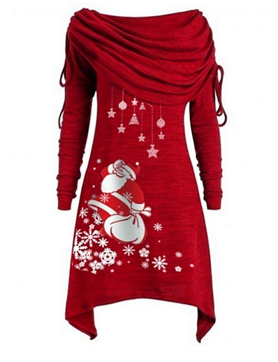 cheap CHRISTMAS GIFTS-Women's Christmas Party Daily Wear Basic Asymmetrical A Line Dress - Geometric Santa Claus Off Shoulder Black Purple Blue S M L XL