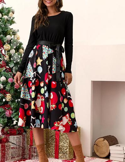 cheap CHRISTMAS GIFTS-Women's Asymmetrical Red Green Dress Elegant Christmas Party Swing Geometric S M