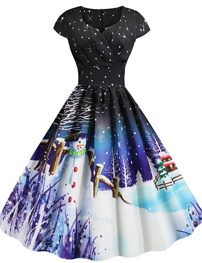 cheap Christmas Dresses-Women Vintage Christmas Printed Short Sleeve V-Neck Bow Knot A-Line Swing Dress Suit Tube top Cardigan Set Dress