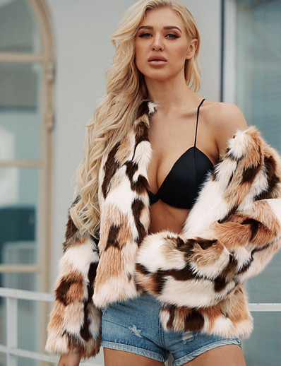 cheap OUTERWEAR-Women's Daily Regular Faux Fur Coat, Color Block Collarless Long Sleeve Faux Fur Brown