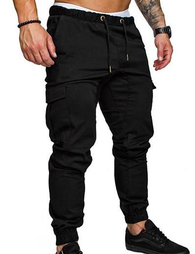 cheap Men's Bottoms-Men's Basic Cotton Chinos Pants Solid Colored Full Length Black Army Green Khaki