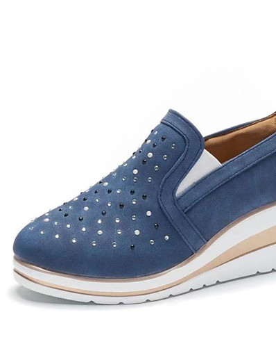 cheap Pumps & Heels-Women's Loafers & Slip-Ons Wedge Heel Round Toe Canvas Casual Walking Shoes Spring & Summer / Fall & Winter Blue / Pink / Gray