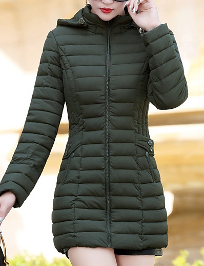 cheap OUTERWEAR-Women's Solid Colored Regular Down, Polyester Black / Wine / Green L / XL / XXL