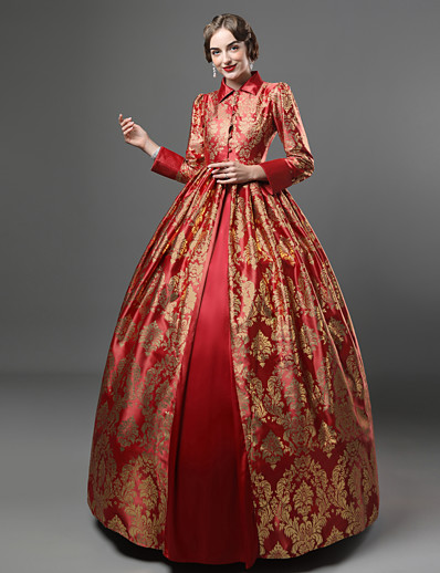cheap Historical & Vintage Costumes-Vintage Rococo Victorian Vacation Dress Queen Elizabeth Maria Antonietta Dress Party Costume Masquerade Ball Gown Women's Satin Cotton Costume Yellow+Blue / Purple / Red Vintage Cosplay Long Sleeve