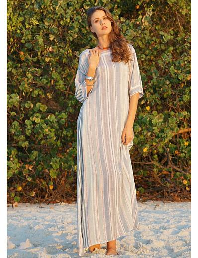 cheap Boho Dresses-Women's Basic Swing Dress - Color Block Patchwork Green M L XL XXL