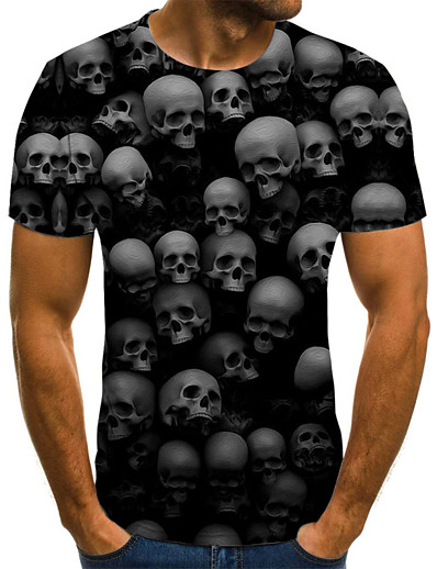 cheap Men's 3D-Men's T shirt Graphic Geometric 3D Skull Plus Size Pleated Print Short Sleeve Daily Tops Streetwear Exaggerated Round Neck Black / Summer