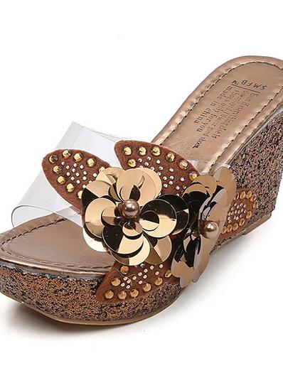 cheap Slippers-Women's Slippers & Flip-Flops Wedge Heel Round Toe PU Summer Black / Brown / Gold