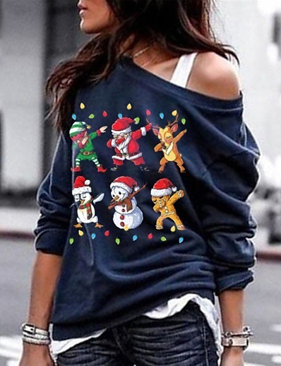 cheap CHRISTMAS-Women's Sweatshirt Print Christmas Basic Hoodies Sweatshirts  Black Blue Army Green