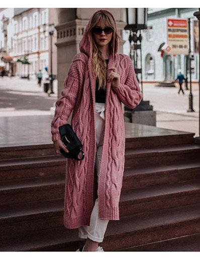 cheap Sweaters & Cardigans-Women's Solid Colored Long Sleeve Loose Cardigan Sweater Jumper, V Neck Black / White / Blushing Pink S / M / L