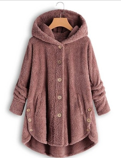 cheap OUTERWEAR-Women's Teddy Coat Long Solid Colored Daily Black Yellow Blushing Pink Wine S M L XL