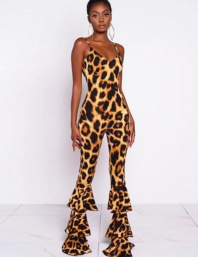cheap CLOTHING-Women's Brown Wide Leg Jumpsuit Onesie, Leopard S M L