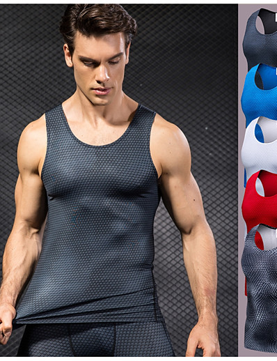 cheap Running, Jogging & Walking-YUERLIAN Men's Compression Tank Top Tank Top Base Layer Top Athletic Quick Dry Breathable Sweat-Wicking Spandex Fitness Gym Workout Running Jogging Sportswear Solid Colored Normal Red Blue Grey White