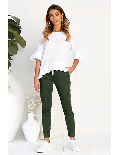 cheap WOMEN-Women's Basic Slim Pants - Solid Colored Black, Patchwork Black Wine Army Green S M L