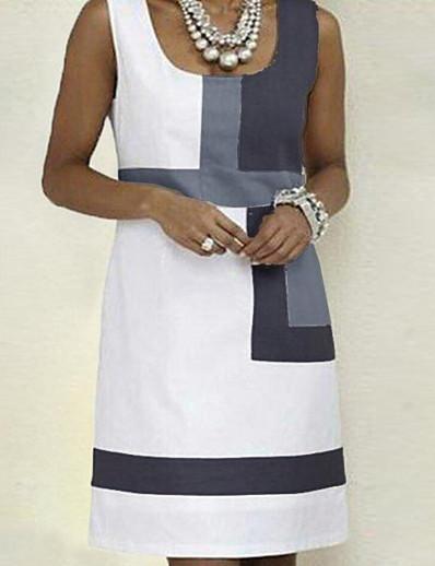 cheap Casual Dresses-Women's White Dress Basic A Line Color Block Strap S M